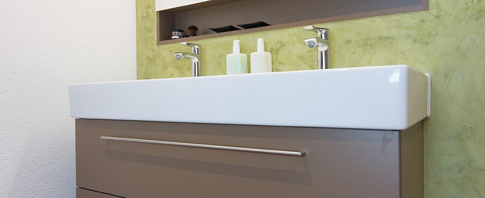 Badmöbel In KH Belegt, Mit Wandbündigem Doppel-Spiegelschrank