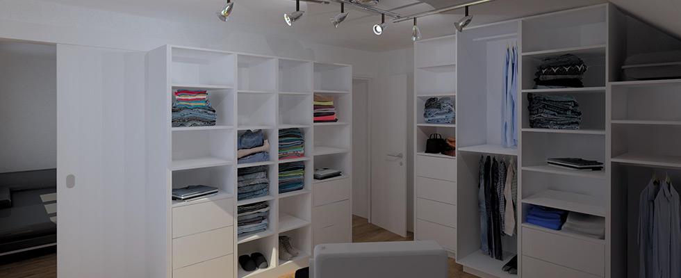 Ankleideraum Mit Integrierter Schiebetüre Zu Schlafzimmer